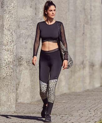 HKMX High Sports Sportlegging Leopard, Grau