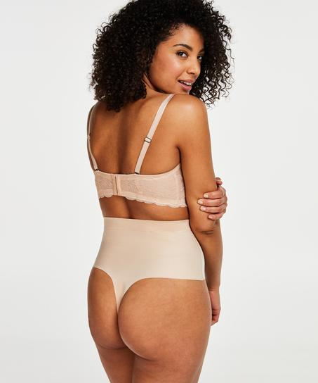 Formender Scuba-Tanga mit hoher Taille - Level 3, Beige