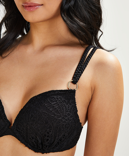 Vorgeformtes Push-up Bügel-Bikini-Top Crochet Cup A - E, Schwarz