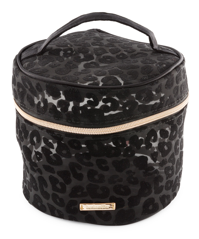 Make-up-Tasche Mesh Leopard, groß, Schwarz, main