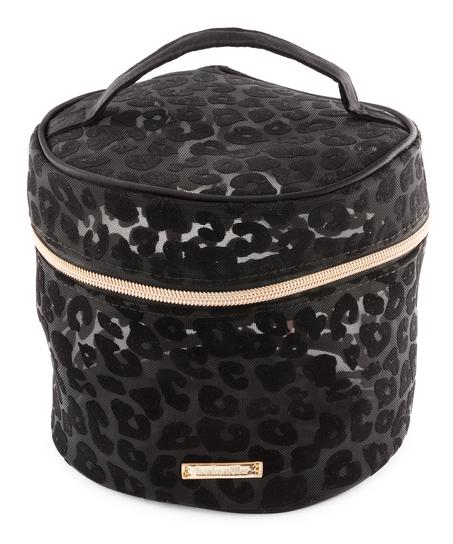 Make-up-Tasche Mesh Leopard, groß, Schwarz