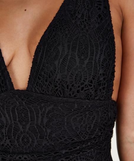 Badeanzug Crochet, Schwarz