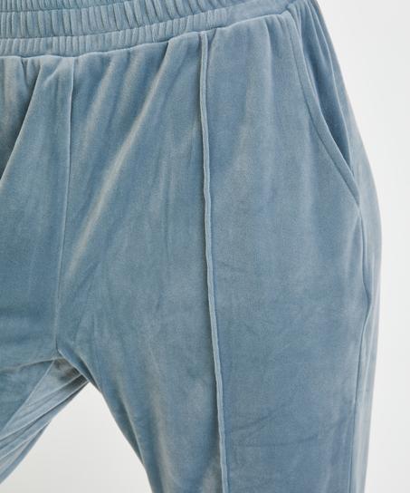 Jogginghose Velours Pintuck, Blau