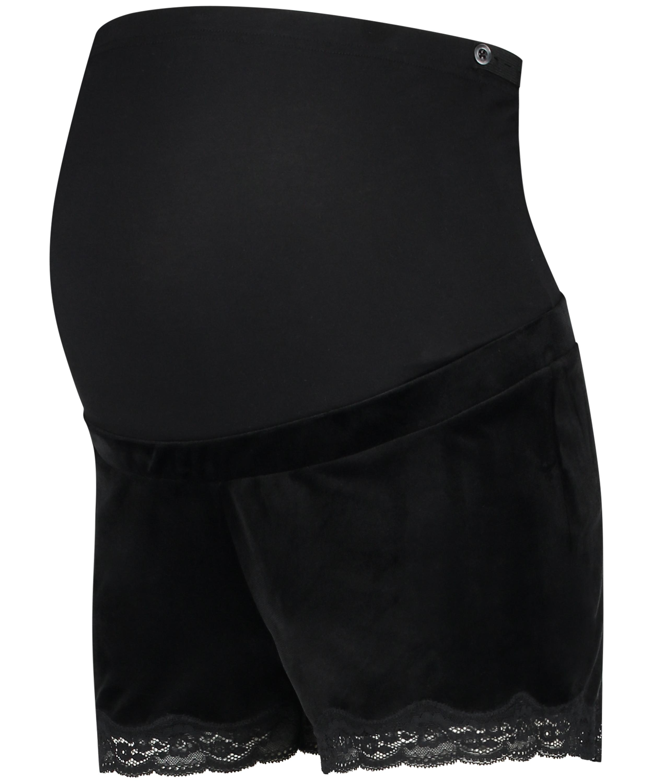 Schwangerschafts-Shorts Velours, Schwarz, main