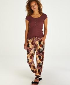Tall Pyjamahose aus Jersey Abstract Leaf, Rose