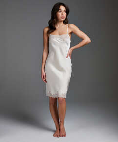 Slipdress Satin Lace, Beige