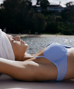Vorgeformtes Bügel-Bikini-Oberteil Scallop, Blau