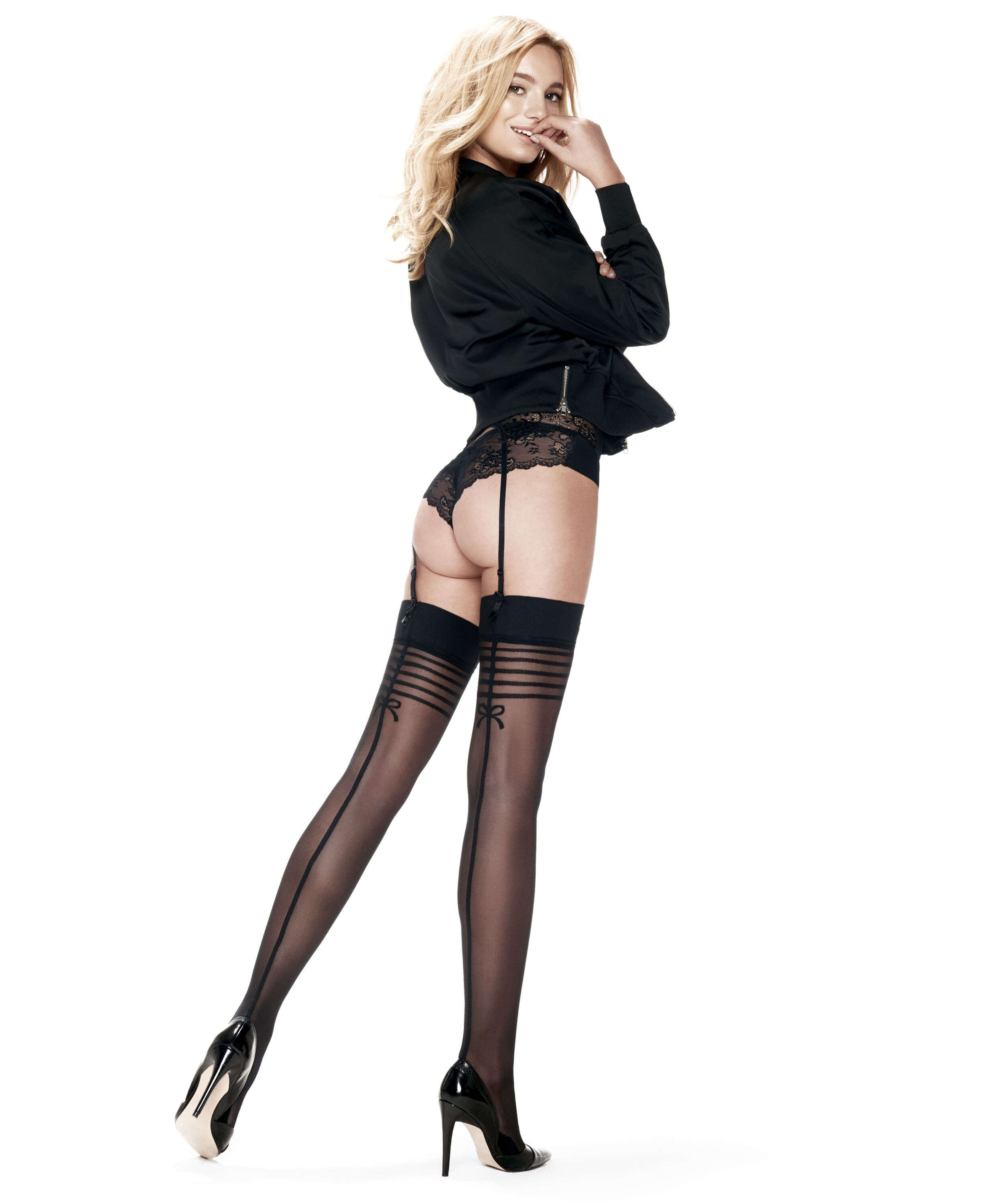 Stockings 30 Denier Delicate Lines, Schwarz, main