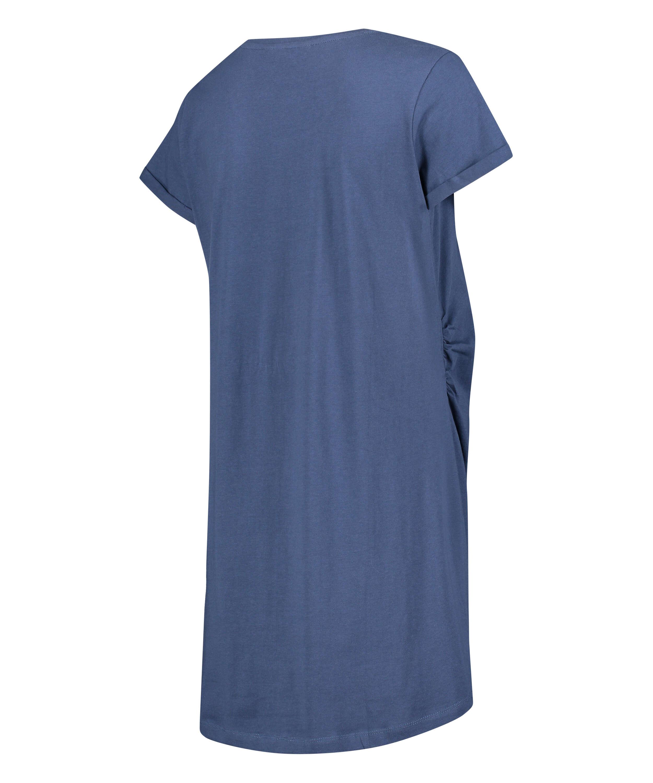 Umstandsnachthemd mit kurzen Ärmeln, Blau, main