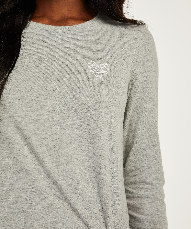 Pyjamatop lange Ärmel Jersey Hearts, Grau, main
