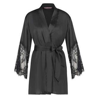 Kimono Lace Satin, Schwarz
