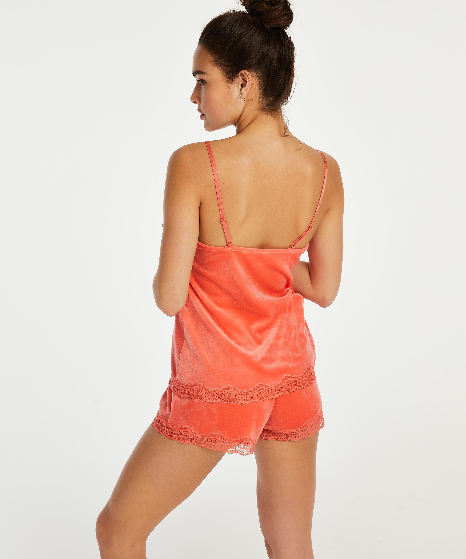 Shorts aus Velours mit Spitze, Orange, main