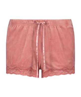 Shorts aus Velours mit Spitze, Rose