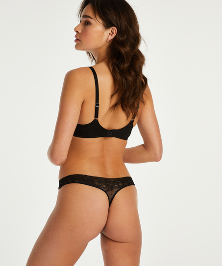 Invisible String Allover Lace, Schwarz