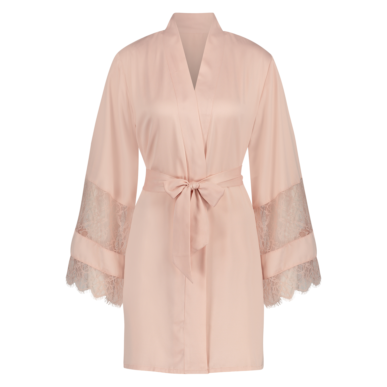 Kimono aus Satin und Spitze, Rose, main