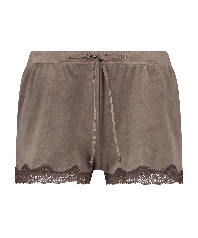 Shorts aus Velours mit Spitze, Braun, main