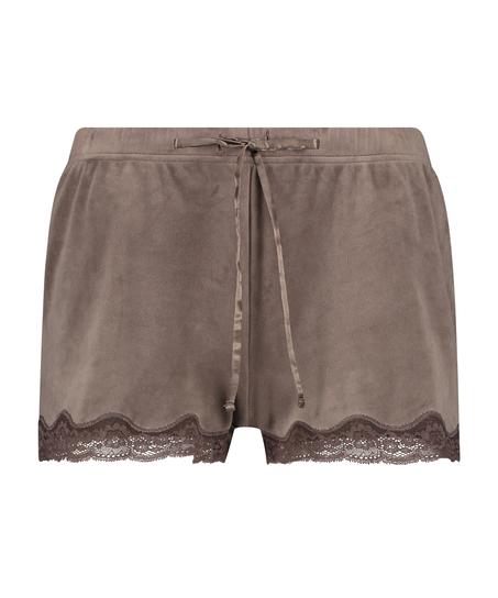 Shorts aus Velours mit Spitze, Braun