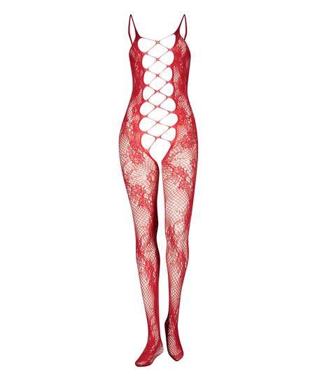 Private Catsuit aus offener Spitze, Rot