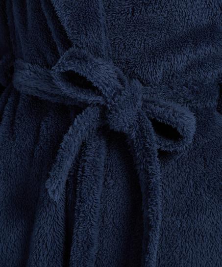 Fleece-Bademantel lang, Blau