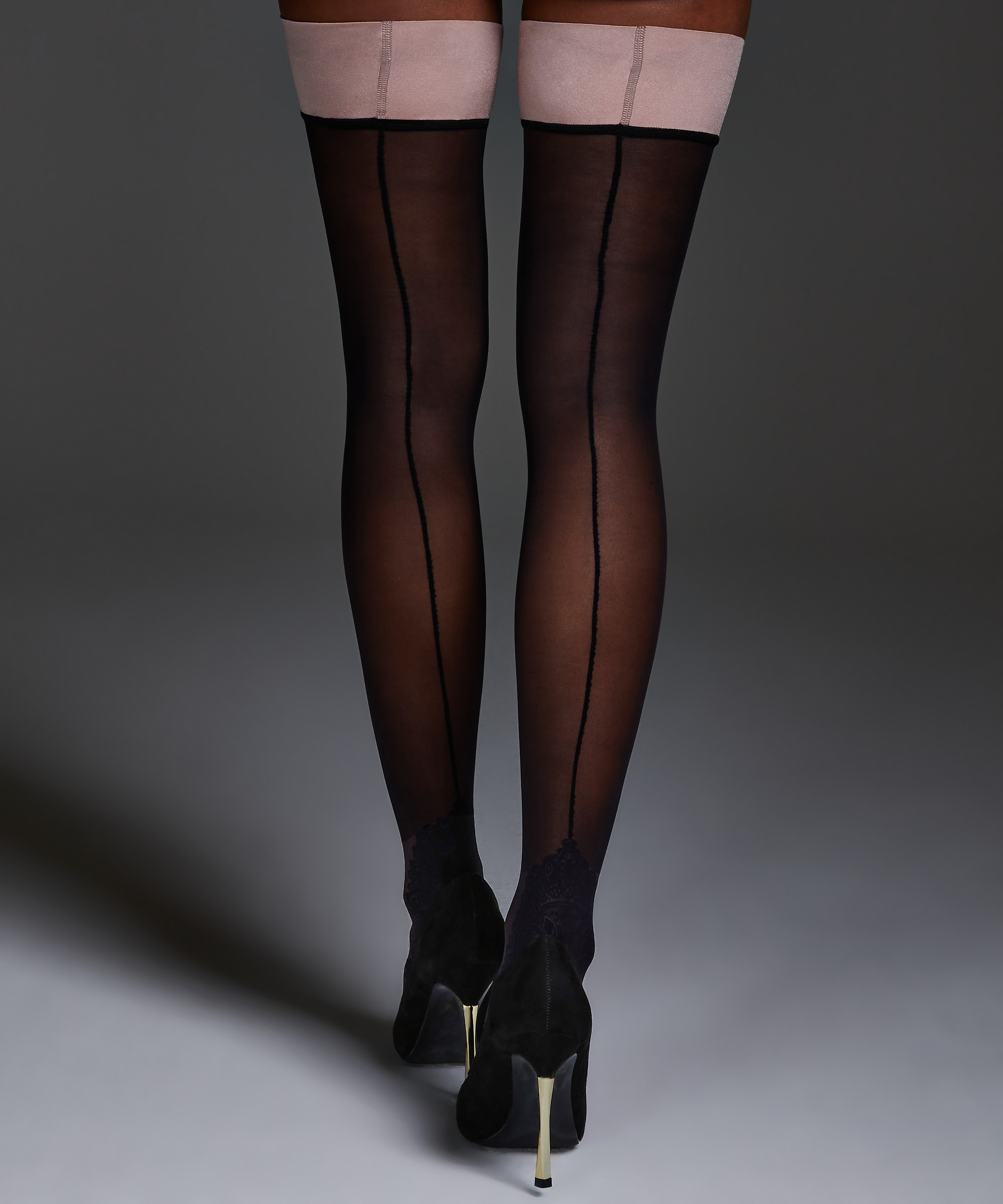 Noir Stay-up Delicate Lace, Rose, main