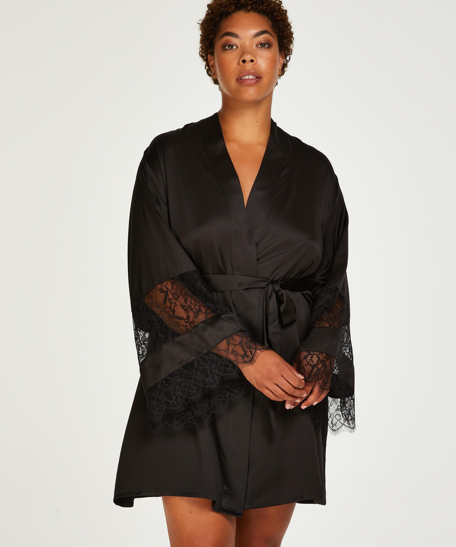 Kimono aus Satin und Spitze, Schwarz, main