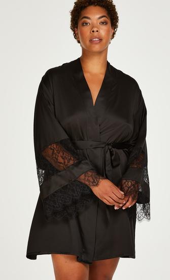 Kimono aus Satin und Spitze, Schwarz