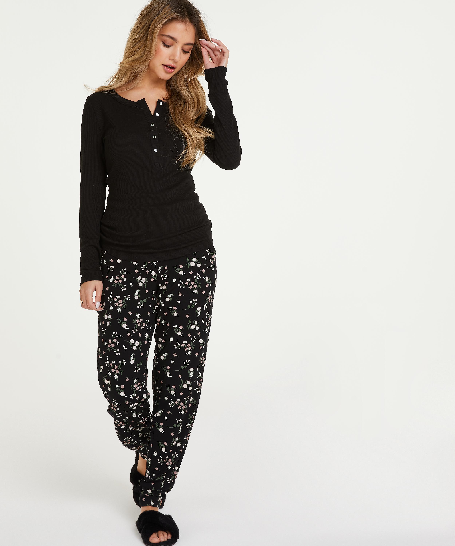 Langarm-Pyjamatop, Schwarz, main