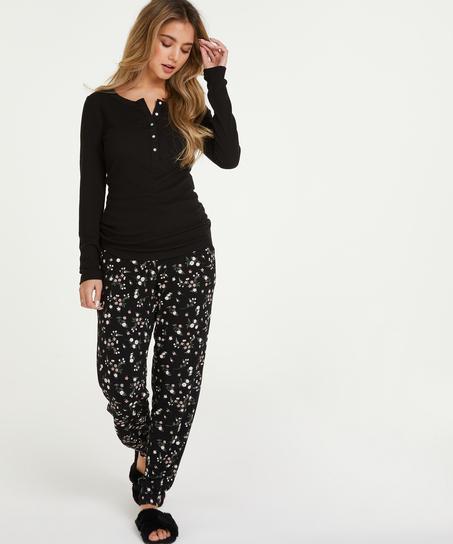 Langarm-Pyjamatop, Schwarz