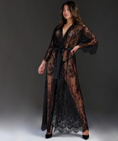 Kimono Allover Lace lang, Schwarz
