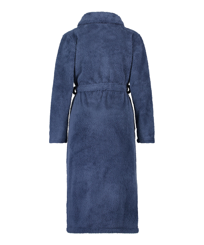 Fleece-Bademantel lang, Blau, main