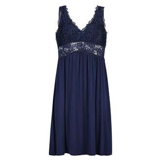 Slipdress Modal Lace, Blau
