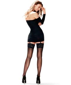 Stockings 15 Denier Lace Backseam, Schwarz
