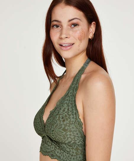 Vorgeformter Neckholder-Bralette Rose, grün