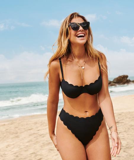Highleg-Bikini-Slip mit hohem Sitz Scallop Glam, Schwarz