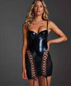 Slipdress mesh lace-up, Schwarz