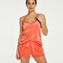 Shorts aus Velours mit Spitze, Orange