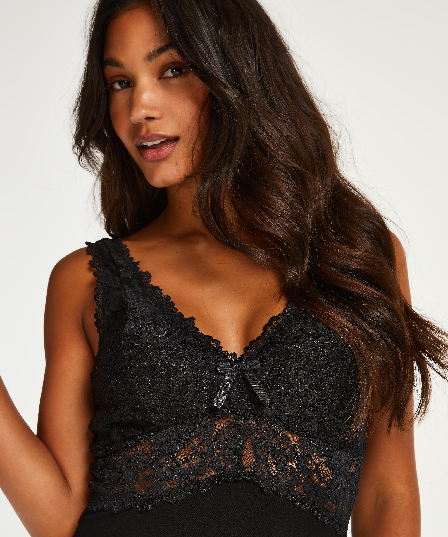 Langes Slipdress, Modal Lace, Schwarz, main