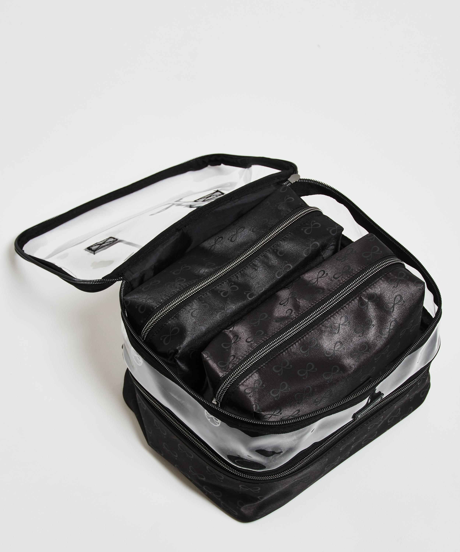 Dreierpack Make-up Tasche, Schwarz, main